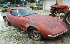 This 1968 Chevrolet Corvette appears to have been heavily damaged and is now a stalled repair project. Is there potential here? #ChevroletCorvette