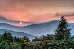 Sunset on Cold Mountain . the south side of the mountain can be seen along the Blue Ridge Parkway, at MP south of Asheville, NC. Nc Mountains, North Carolina Mountains, Appalachian Mountains, Blue Ridge Mountains, Great Smoky Mountains, South Carolina, Cold Mountain North Carolina, Carolina Blue, Beautiful World