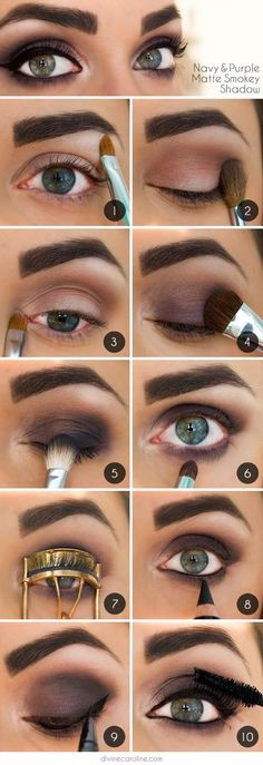 A tutorial for a purple and navy matte smokey eye - without looking like a black eye injury lol...x