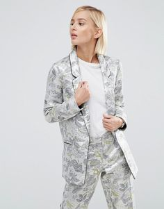 3e032881d8bd5 ASOS Longerline Blazer In Metallic Jacquard at asos.com