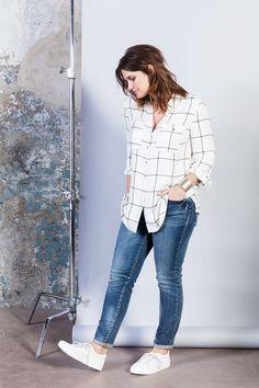 Zwart-wit geruite blouse #missetam