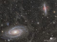 Galaxy Wars: M81 versus M82 - In the lower left corner surrounded by blue spiral arms is spiral galaxy M81. In the upper right corner marked by red gas and dust clouds is irregular galaxy M82. This stunning vista shows these two mammoth galaxies locked in gravitational combat as they have been for the past billion years. The gravity from each galaxy dramatically affects the other during each hundred million-year pass. Last go-round M82's gravity likely raised density waves rippling around…