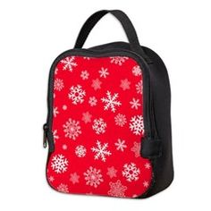 Snowflakes Red Background Neoprene Lunch Bag    •   This design is available on t-shirts, hats, mugs, buttons, key chains and much more   •   Please check out our others designs at: www.cafepress.com/ZuzusFunHouse