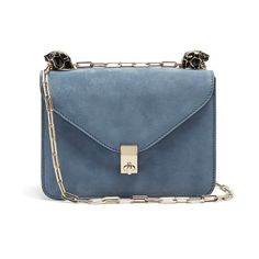 Valentino Panther-embellished small suede shoulder bag ($1,781) ❤ liked on Polyvore featuring bags, handbags, shoulder bags, blue, shoulder hand bags, shoulder bag purse, suede shoulder bag, valentino purses and valentino handbags