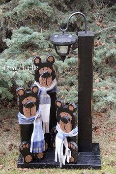 Solar Bear Light Post DIY wooden bears and solar light post via The Feral Turtle