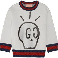 Gucci Metallic-trimmed printed neoprene sweatshirt ($725) ❤ liked on Polyvore featuring tops, hoodies, sweatshirts, sweaters, gucci, skull top, boxy tops, neoprene sweatshirt and boxy sweatshirt