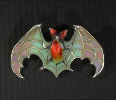 Art Nouveau Bat Brooch, Meyle & Mayer, Plique a Jour Enamel and Silver from vsterling on Ruby Lane