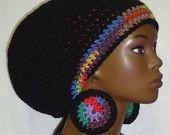 Black Rainbow Trim Crochet Rasta Tam Hat Cap with Drawstring and Earrings Dreadlocks by Razonda Lee