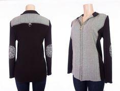 ST JOHN SPORT By MARIE GRAY Knit Jacket M Brown Herringbone Zip Cardigan #StJohnSport #KnitJacket #Casual