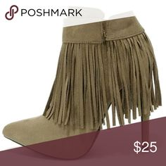TAUPE GRAY SUEDE FRINGE BOOTIES WILD DIVA Gently worn  Size 6 No trades at this time Wild Diva Shoes Ankle Boots & Booties