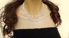 Sterling Silver Necklace Multi strand Necklace di Frammentidivetro