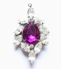Vintage Purple & Clear Glass Rhinestone Pendant by paststore on Etsy