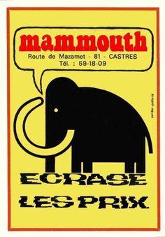 """mammouth le grand magasin, en rangeant le garage chez mes parents, on a retrouvé 2 grands sacs plastique blanc """"mammouth"""", so vintage..."""