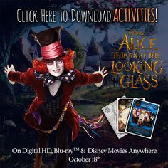 Celebrate With Alice #ThroughTheLookingGlass And High Tea Party. Download kid's activity sheets that will inspire and keep your little ones busy.