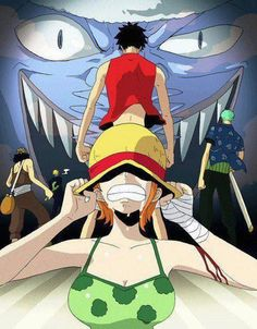 One Piece, Arlong ; Nami, Luffy, Zoro, Sanji, Ussop