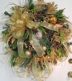Traditional Christmas Door Wreath Outdoor Holiday Wreath Glittering Gold.