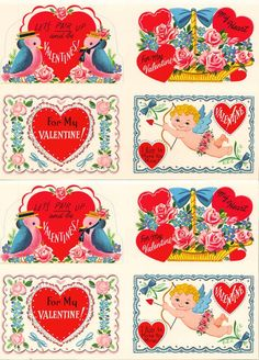 A beautiful in-tact vintage valentines booklet for download and print!