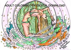 Green Bikini Blonde Yogini Girl|Printable Yoga Adult Coloring Page|JPG|Erotic|Nature|Meditation|Zen|Meditate|Fun Digital Art|Nameste|Om Yogi Adult Coloring, Coloring Books, Coloring Pages, Zen Meditation, Green Bikini, Yoga Art, Copic Markers, Adulting, Colored Pencils