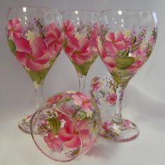 Hand Painted Tulip Wine Glass  Spring Garden  Pink  by EverMyHart - $45.00 includes shipping!! Still time for Christmas delivery!