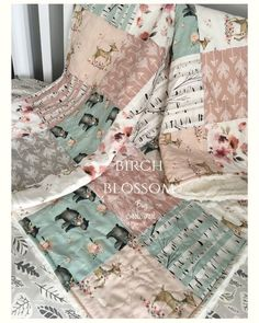 Handmade Baby Quilts and Crib Bedding por CoolSpool Custom Baby Bedding, Baby Girl Bedding, Baby Girl Quilts, Pink Bedding, Girls Quilts, Baby Girl Blankets, Woodland Crib Bedding, Pink Crib, Girl Cribs