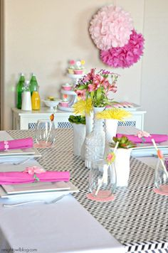 Mother's Day Brunch Table Decor.  Pink and yellow decor pop against the black and white runner at this gorgeous Mother's Day Table at Night Owl Blog. #mothersday #tablescape