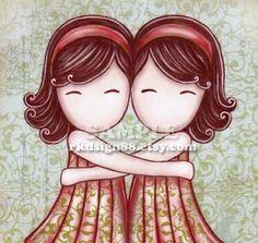 My lovely best friend - brown - Whimsical Arts Print - Children Nursery