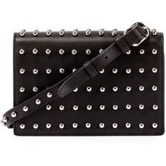 Alexander Wang Prisma Double Biker Studded Purse/Wallet ($620) ❤ liked on Polyvore featuring bags, wallets, clutches, handbags, black, studded leather bag, shoulder strap wallet, alexander wang, zip pouch bags and bike bag