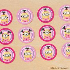 girl minion cupcake toppers FREE Printable Despicable Me Girl Minions Cupcake Toppers