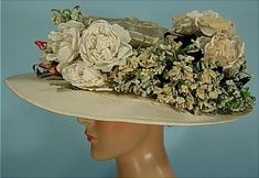 c. 1907 Garden Party Hat of White Horsehair Teeming with All Original Silk Flowers and Black Velvet Ribbon