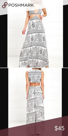 Black & White Cut-Out Maxi Dress. NWOT. Black & White Cut-Out Maxi Dress. NWOT -- 100% polyester, fully lined -- hidden back zipper & elastic waist. Lulu's Dresses Maxi