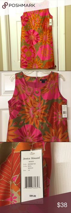 Pretty Nice Cocktail Dress NWT Colorful nice dress in size 14 NWT. Jessica Howard Dresses