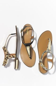 Love the gold embellishments on these  sandals