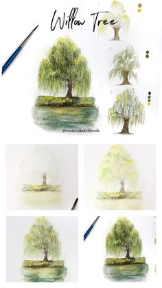 Willow Tree Tutorial Mini willow tree tutorial with step by step process photos. Watercolor Trees, Watercolor Landscape, Watercolour Painting, Painting & Drawing, Watercolor Pencil Art, Painting Trees, Watercolors, Art Mini Toile, Landscape Sketch