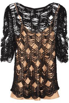 Vanessa Bruno shredded crochet-knit top