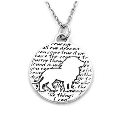 Lion (Courage quote) Sterling Silver Large Pendant Necklace (Chain Length Option)