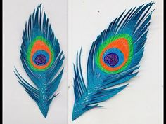 Diy How to make Easy Paper Peacock Feather Peacock Crafts, Feather Crafts, Feather Art, Peacock Wings, Peacock Feathers, Diy Wand, Diy Paper, Paper Art, Paper Feathers