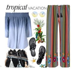 Welcome to Paradise: Tropical Vacation by beebeely-look on Polyvore featuring Figue, Tory Burch, tropical, sammydress, tassel and TropicalVacation