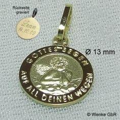 Schutzengelanhänger Gold mit Gravur Bild 1