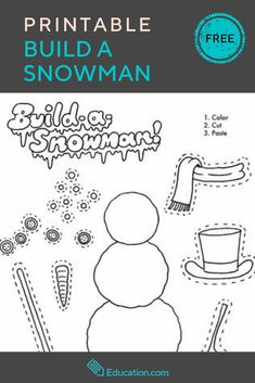 Get this FREE Build A Snowman Printable! If building a snowman isn't an option where you live, or even if it is, this cut-and-paste snowman worksheet is a nice winter treat. Build A Snowman, Snowman Crafts, Christmas Crafts, Christmas Activities, Christmas 2019, Christmas Ideas, Christmas Tree, Kindergarten Crafts, Preschool Crafts