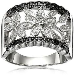 Sterling Silver Black and White Diamond Ring (1/10cttw, I-J Color, I2-I3 Clarity), Size 7 Available at joyfulcrown.com