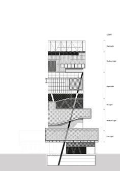 Highrise Proposal, Tokyo on Behance gevel aanzicht schema stapeling vorm Architecture Graphics, Concept Architecture, Architecture Drawings, Facade Architecture, Sectional Perspective, Urban Mapping, Design Presentation, Architectural Presentation, Elevation Drawing