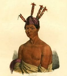 """James Otto Lewis--- """"'Rattle Snake'/Winnebago Chief""""---  James Otto Lewis attended treaty council meetings in the Great Lakes region between 1825 and 1827 on a commission from the Indian Department. His portraits were to be distributed as hand coloured lithographs to subscribers in 10 installments with a subsequent circular recording his interviews of the native American Chiefs that sat for him."""