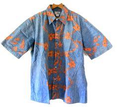 d185a5e3377 Reyn Spooner Hawaiian Camp Shirt XL 100% Cotton Vtg 1980 s Blue Reverse  Print  ReynSpooner