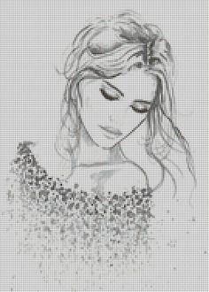 "Borduurpatroon ""Overig"" Kruissteek *Embroidery Cross Stitch Pattern ~Vrouw~:"