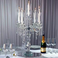 Tall 5 Arm PREMIUM Hurricane Taper Crystal Glass Candle Holder Centerpiece for your Candelabra For Sale, Crystal Candelabra, Candelabra Flowers, Starry String Lights, Chandelier Centerpiece, Chandelier Lighting, Chandeliers, Taper Candle Holders, Crystals