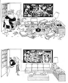 """Picasso's """"Guernica"""" before & after the tidying up. [ by Argentinian cartoonist Quino ] Pablo Picasso, Picasso Guernica, Maurice Sendak, Painting & Drawing, Things Organized Neatly, Ligne Claire, Spanish Humor, Ap Spanish, Comics"""