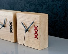 "Red Wood Embroidered Desk Clock - Solid oak desk clock with leather embroidery. Color of your choice: black, red, green. Size: 4.7"" x 4.7"" x 1.57"" ( 12 x 12 x 4 cm)"