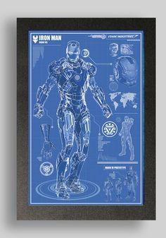 Iron Man Mark 7 Suit Blueprints 16x24 by RyanHuddle on Etsy