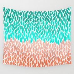 Wall Tapestry Coral Mint Teal Green Orange by LoveThatTooMuch
