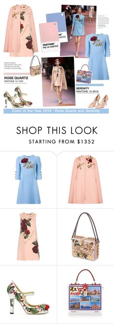 """""""Pantone of 2016 : Rose Quartz and Serenity"""" by igedesubawa ❤ liked on Polyvore featuring Dolce&Gabbana"""